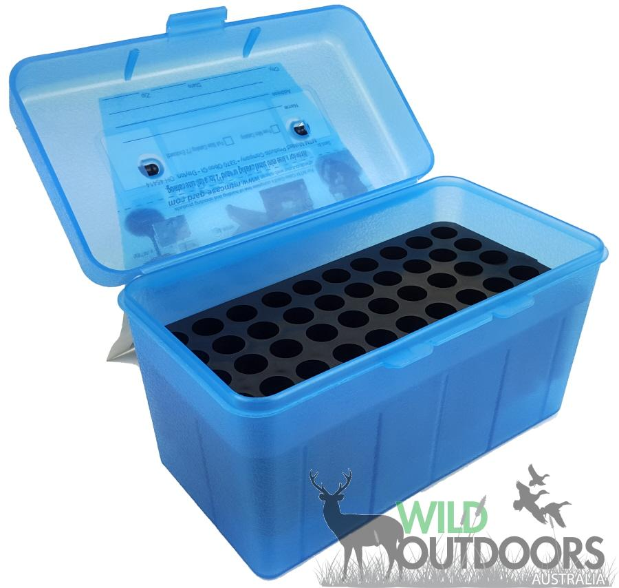 MTM H50-RL Deluxe 50-Round Rifle Ammo Case Box 30-06 270 Win 25-06 Clear Blue